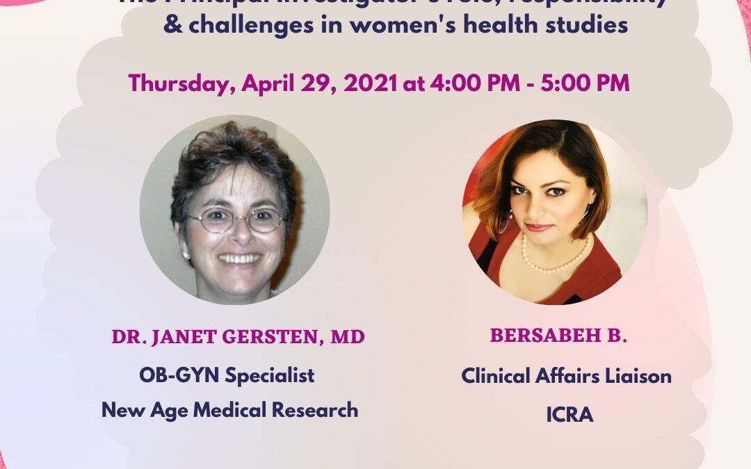 Le rôle de la chercheuse principale dans les essais cliniques sur la santé des femmes, webinaire gratuit avec le Dr Janet Gerstnen